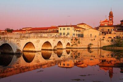 Canvas print Tiberius' Bridge at sunset. Rimini, Italy
