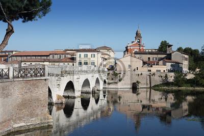 Canvas print Tiberius ' Bridge . Rimini, Italy