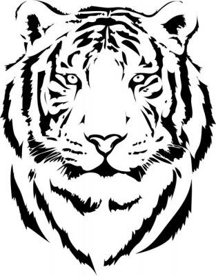 Canvas print tiger head in black interpretation 2