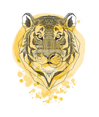 Tiger head isolated on yellow watercolor paint splash background. Wild Animal stylized portrait. Zentangle inspired tribal style. T-shirt print.