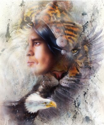 Canvas print tiger with eagle and indian warrior and headdress illustration. wildlife animals on painting background, Eye contact, White, black and brown color
