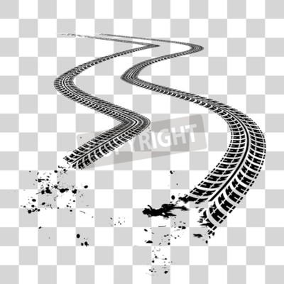 Canvas print Tire tracks.  Vector illustration on checkered background