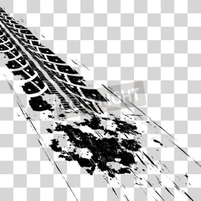 Canvas print Tire tracks. Vector illustration onon checkered background