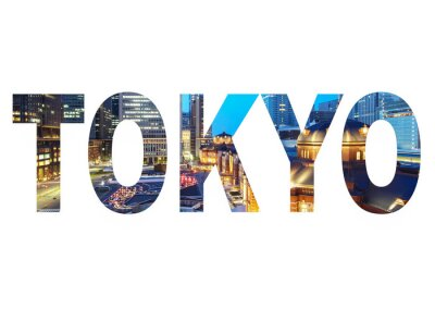 Canvas print Tokyo City name sign with photo in background. Isolated on white background..