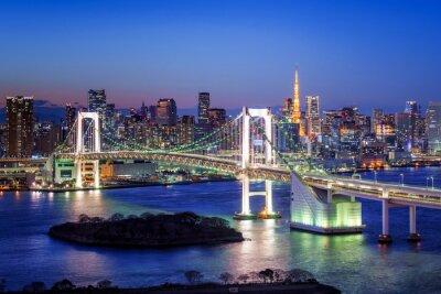 Canvas print Tokyo Rainbow Bridge und Tokyo Tower