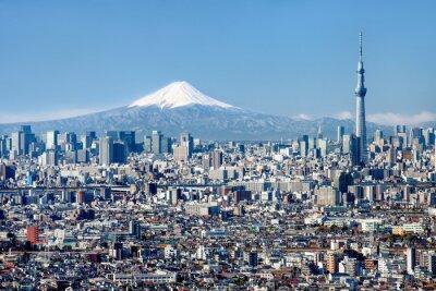 Canvas print Tokyo Skyline mit Mount Fuji und Skytree