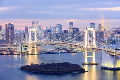 Canvas print Tokyo skyline with Tokyo tower and rainbow bridge