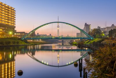 Canvas print tokyo skytree and colorful bridge in refection