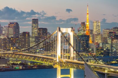 Canvas print Tokyo Tower Rainbow Bridge