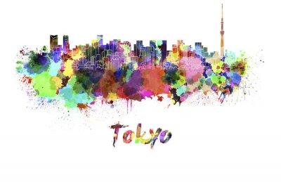 Canvas print Tokyo V2 skyline in watercolor
