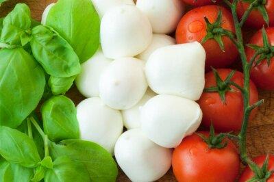 Canvas print tomato mozzarella and basil background