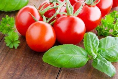 Canvas print Tomatoes and basil
