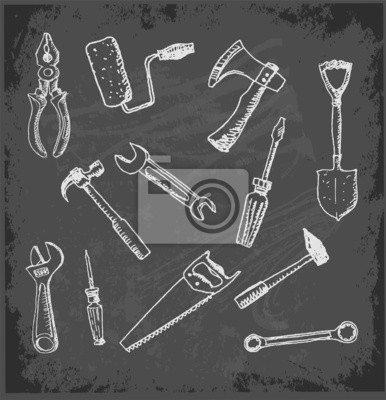Tools hand drawn in sketchy style.