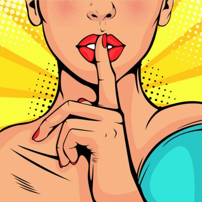 Canvas print Top secret silence girl. Beautiful woman put her finger to her lips, calling for silence. Colorful vector background in pop art retro comic style.