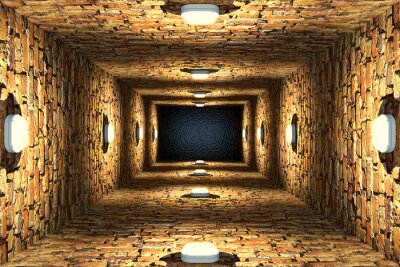 Canvas print Top view of old flooded elevator shaft or well with brick walls and point lights
