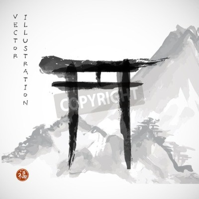 Torii gates and Fujiyama mountain hand-drawn with ink in traditional Japanese style sumi-e on vintage rice paper. Sealed with hieroglyphs luck