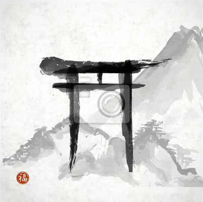 Torii gates and mountains hand-drawn with ink i
