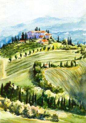Canvas print Toscana landscape. Watercolor illustration