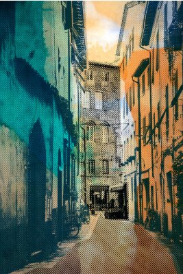 Canvas print town Lucca, postcard