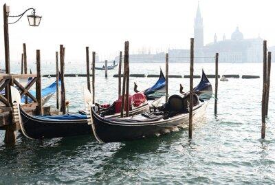 Canvas print Traditional Gondola on Canal Grande with San Giorgio Maggiore church