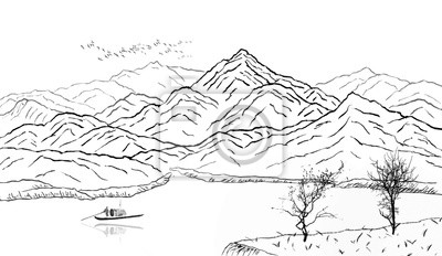 Traditional oriental ink landscape.Far blue mountains hand drawn with ink.