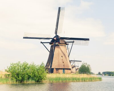 Canvas print traditional windmill in Netherlands