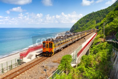 Canvas print Train approaching the Duoliang Station in Taitung, Taiwan