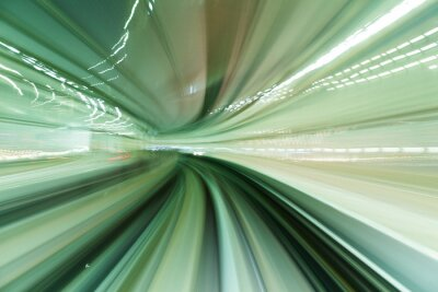 Canvas print Train moving fast in tunnel