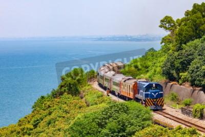 Canvas print Train on the railway near Fangshan Station in pingtung, taiwan