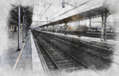 Canvas print Train station