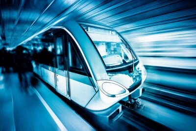Canvas print train through city