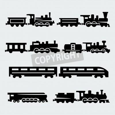 Canvas print trains silhouettes set