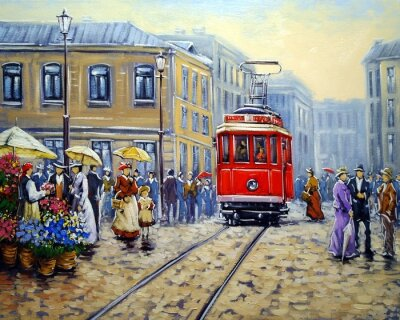 Canvas print Tram in old city, oil paintings landscape