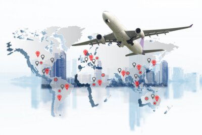 Canvas print Transportation, import-export and logistics concept, container truck, ship in port and freight cargo plane in transport and import-export commercial logistic, shipping business industry