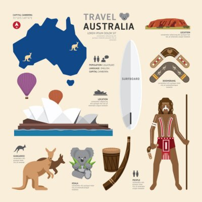Canvas print Travel Concept Australia Landmark Flat Icons Design .Vector Illu