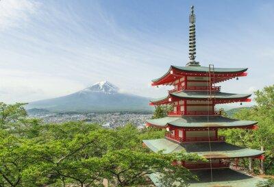 Canvas print Travel destination - Mt. Fuji with red pagoda in Spring, Fujiyos