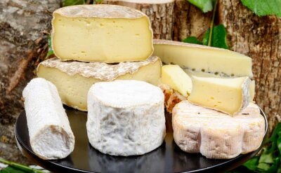 Canvas print tray with different French cheeses
