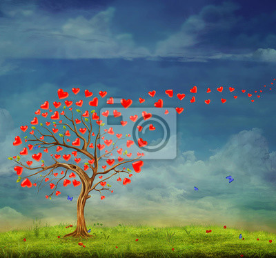 Canvas print Tree  of hearts, valentines day background, illustration