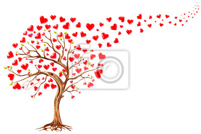 Canvas print Tree  of hearts, valentines day background,illustration