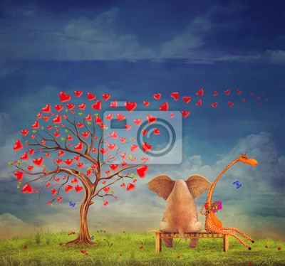 Canvas print Tree  of hearts, valentines day background,illustration.The love between an elephant and giraffe in the garden.