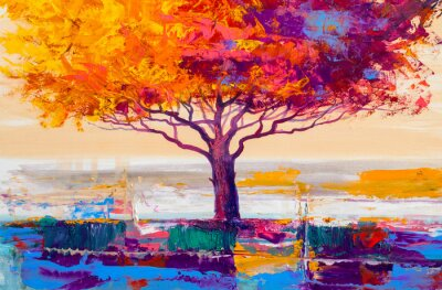 Canvas print Tree oil painting, artistic background