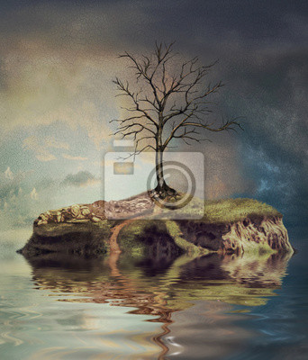 Canvas print Tree  on an island on the small lake