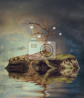 Canvas print Tree with light bulbs on an island on the small lake