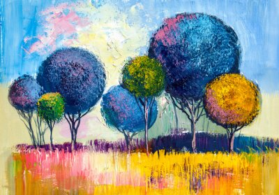 Canvas print Trees, oil painting, artistic background