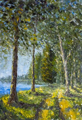 Trees on green bank near blue water lake - summer landscape -oil painting and palette knife close up impressionistic illustration, fine art.