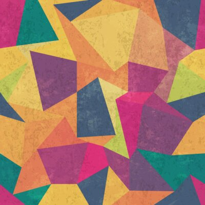 Canvas print Triangle pattern. Colorful, grunge and seamless. Grunge effects