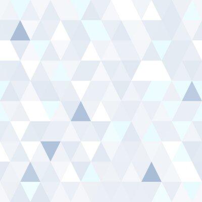 Canvas print Triangular shape shimmering blue seamless pattern. Geometric shiny background.