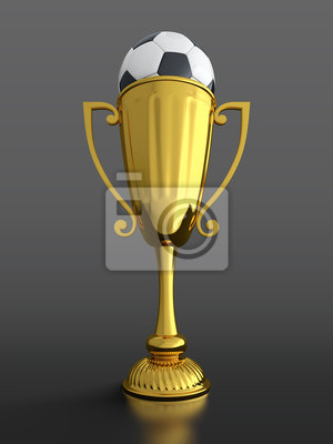Trophy cup with soccer ball