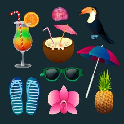 Canvas print Tropical Elements Set: Cocktails, Flowers, Sunglasses, Bird, Pineapple
