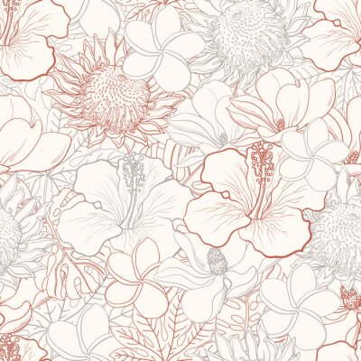 Canvas print Tropical flowers seamless pattern with white hand drawn exotic blooms of hibiscus, protea, magnolia and plumeria and palm leaves with colorful line contour. Floral vector illustration in sketch style.